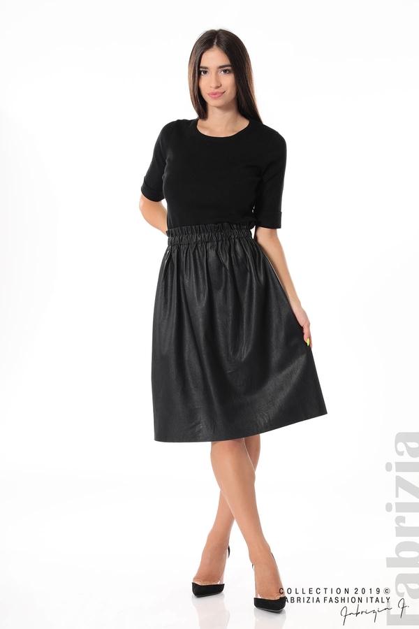 Комплект блуза и кожена пола черен 1 fabrizia