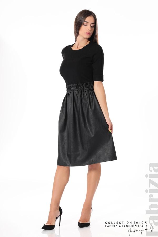 Комплект блуза и кожена пола черен 2 fabrizia