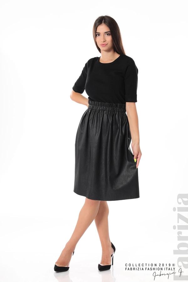 Комплект блуза и кожена пола черен 3 fabrizia