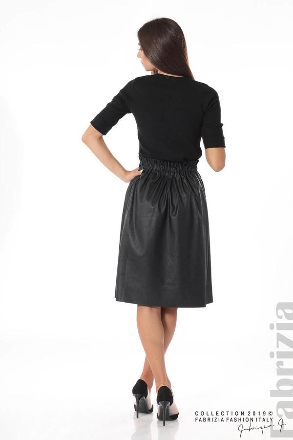 Комплект блуза и кожена пола черен 4 fabrizia