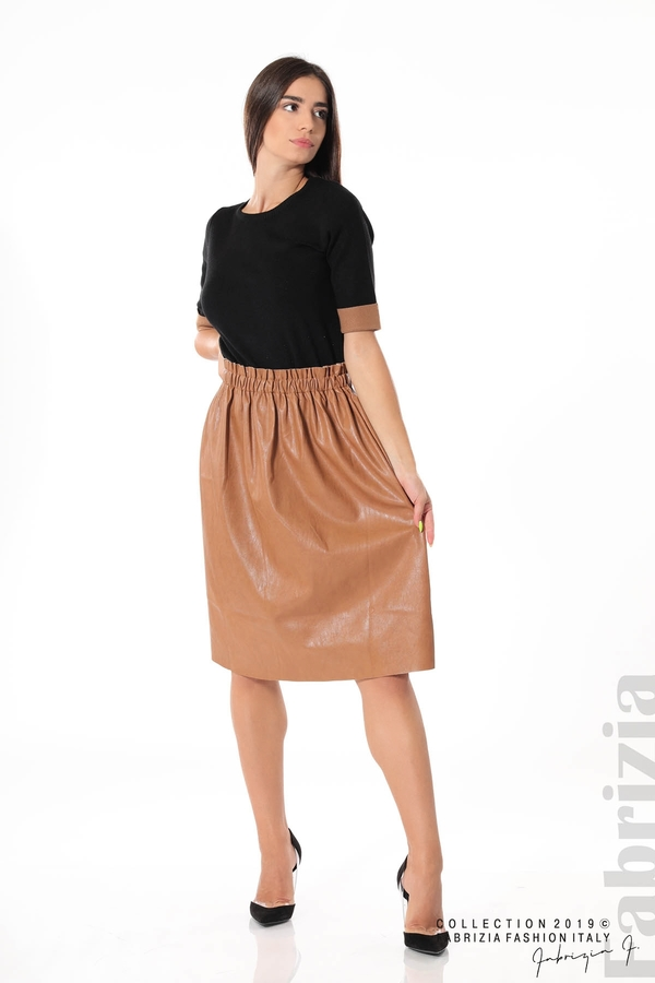 Комплект блуза и кожена пола кафяв/черен 2 fabrizia
