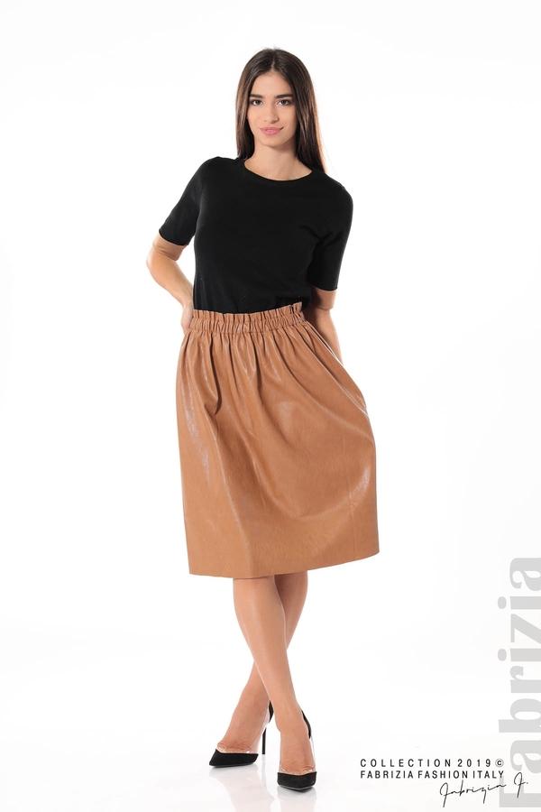 Комплект блуза и кожена пола кафяв/черен 3 fabrizia