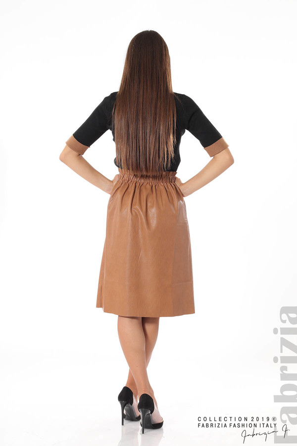 Комплект блуза и кожена пола кафяв/черен 4 fabrizia