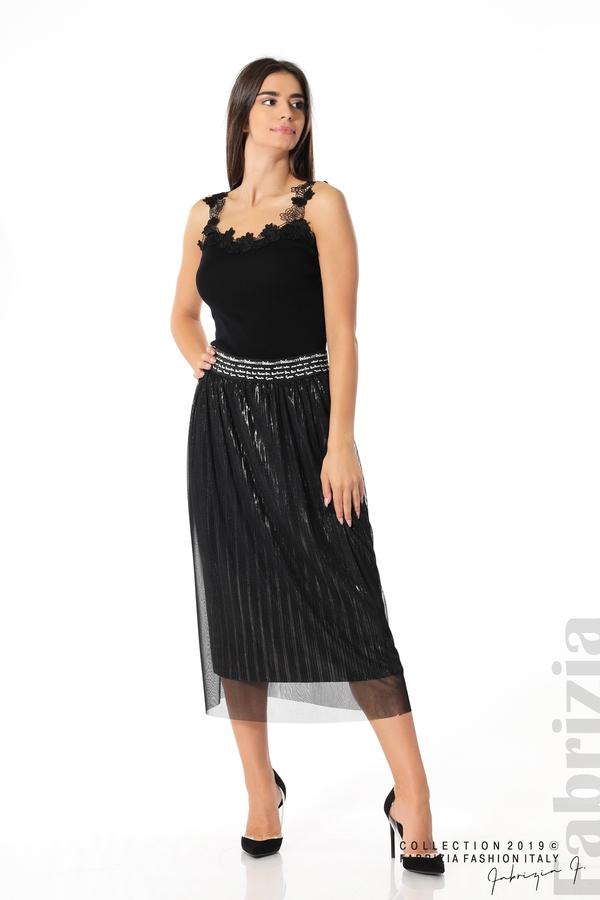 Дамска пола с тюл черен 3 fabrizia
