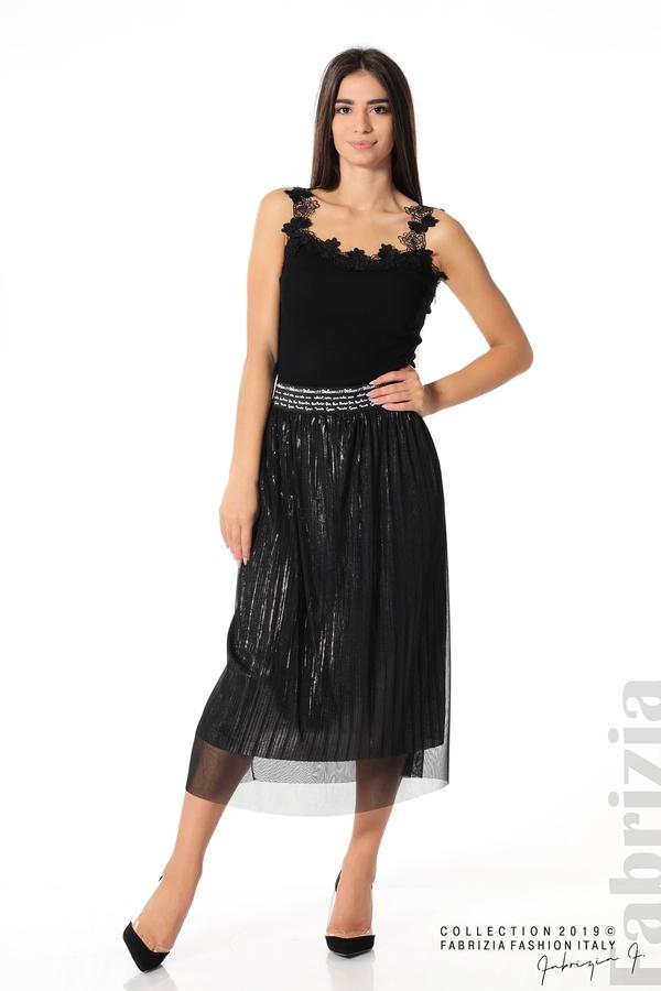 Дамска пола с тюл черен 1 fabrizia