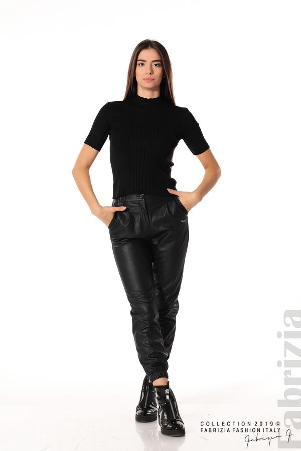 Рипсена блуза с къс ръкав черен 2 fabrizia