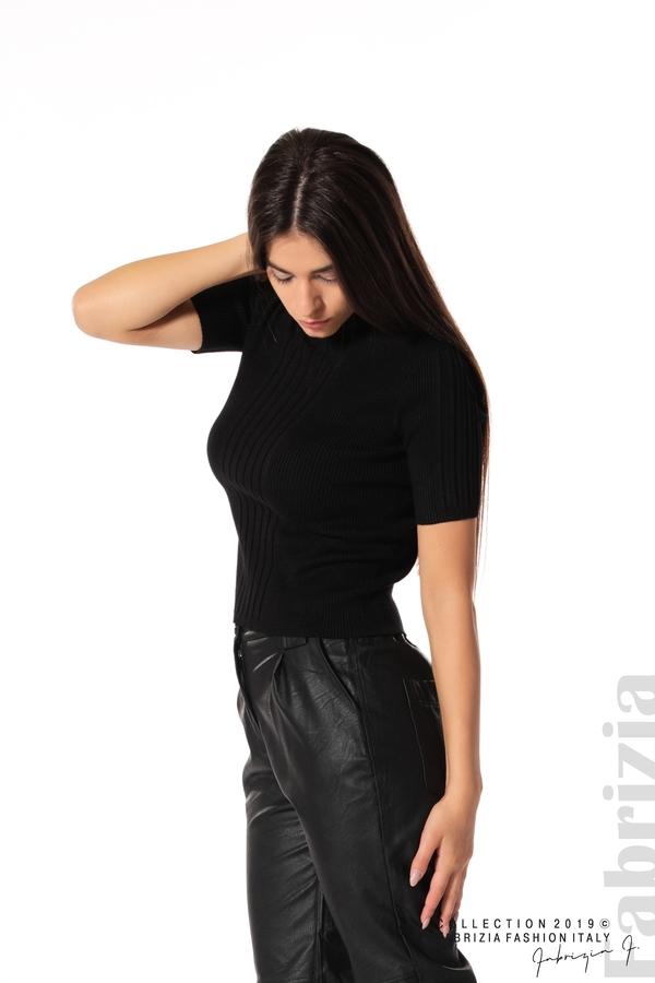 Рипсена блуза с къс ръкав черен 1 fabrizia
