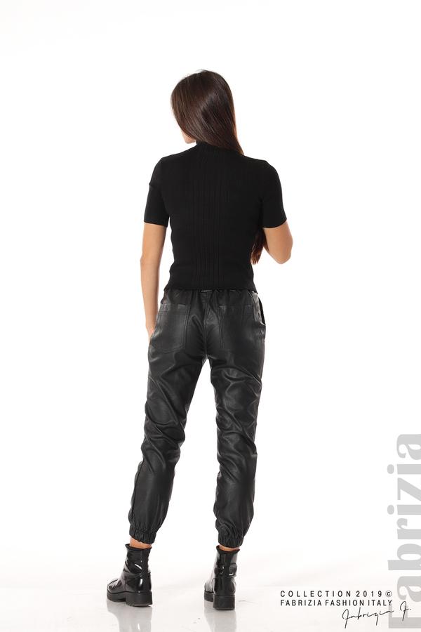 Рипсена блуза с къс ръкав черен 3 fabrizia