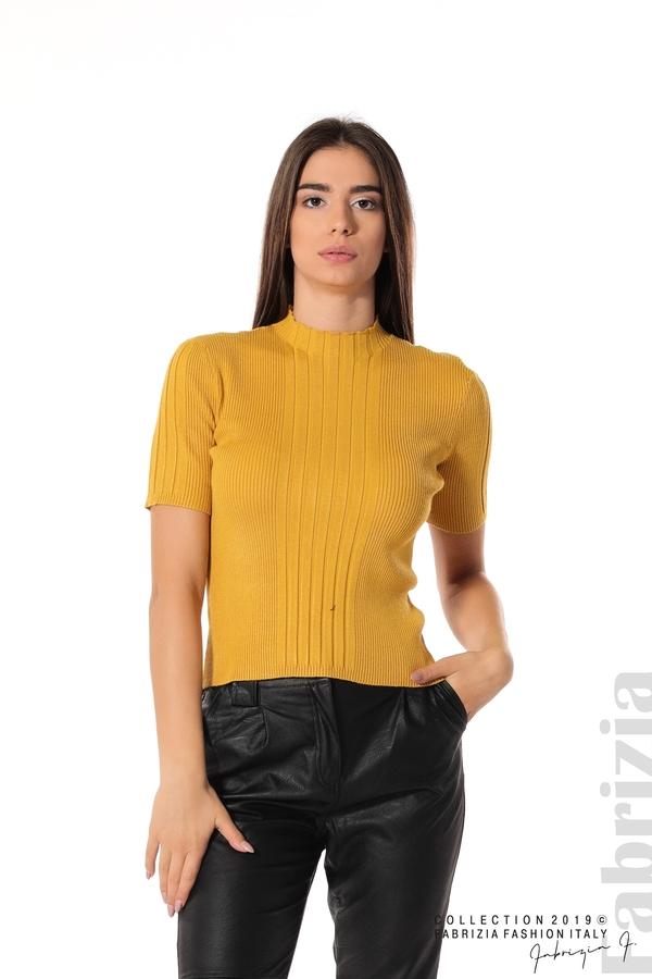 Рипсена блуза с къс ръкав горчица 1 fabrizia