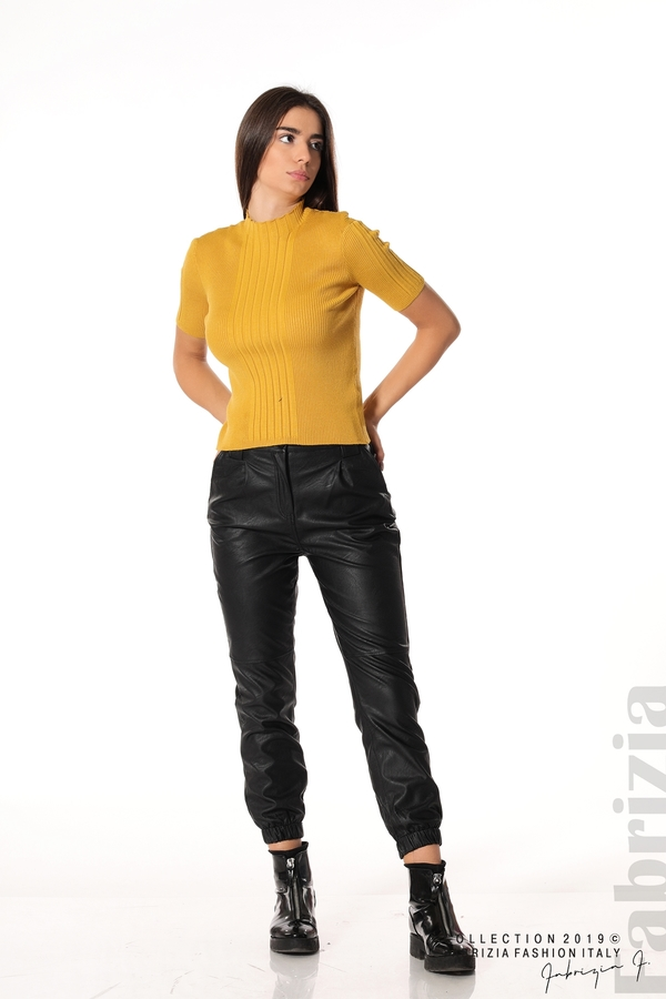 Рипсена блуза с къс ръкав горчица 2 fabrizia