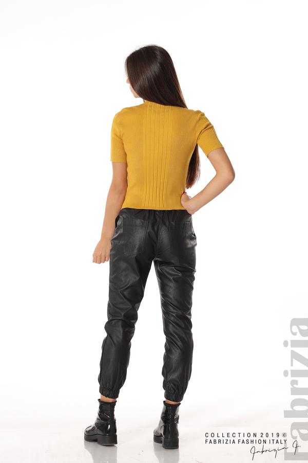 Рипсена блуза с къс ръкав горчица 3 fabrizia