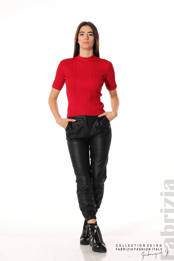 Рипсена блуза с къс ръкав червен 3 fabrizia