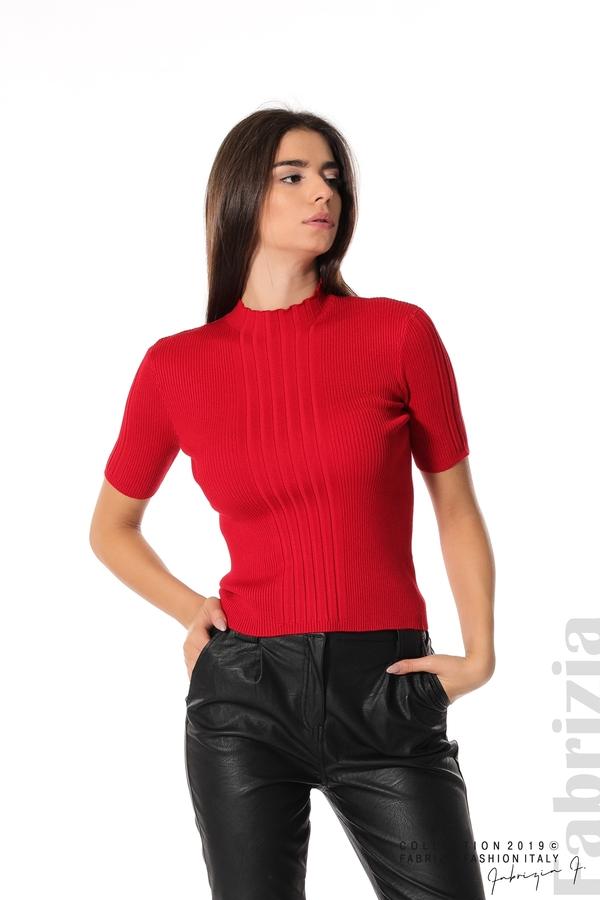 Рипсена блуза с къс ръкав червен 1 fabrizia