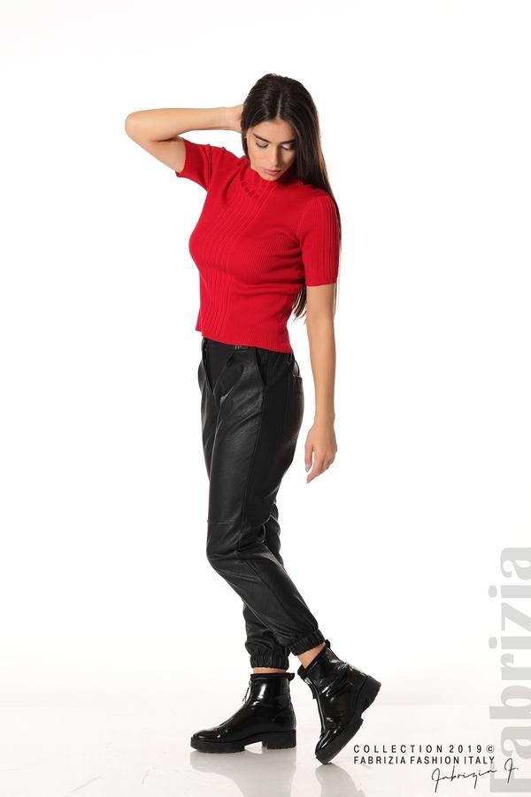 Рипсена блуза с къс ръкав червен 2 fabrizia