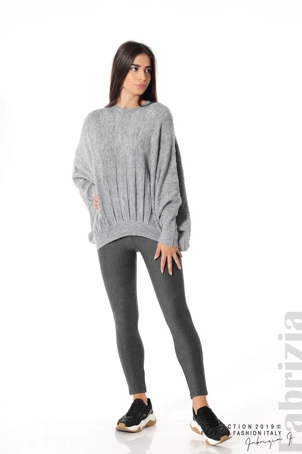 Широка блуза с прилеп ръкав сив 3 fabrizia