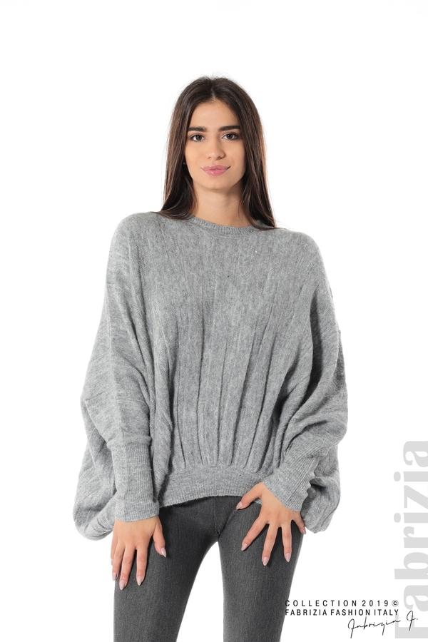 Широка блуза с прилеп ръкав сив 1 fabrizia
