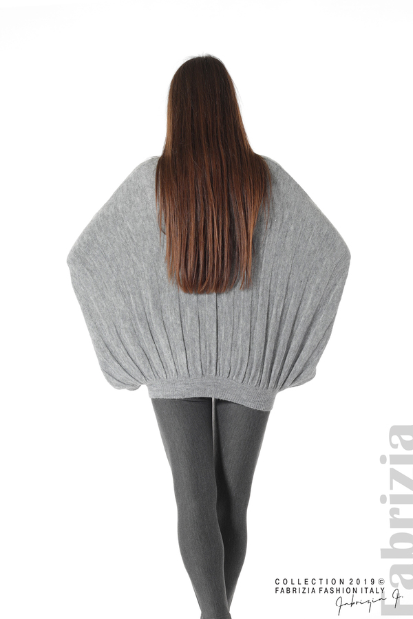 Широка блуза с прилеп ръкав сив 6 fabrizia