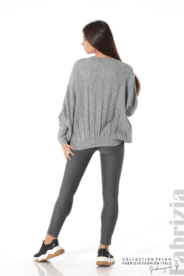 Широка блуза с прилеп ръкав сив 5 fabrizia