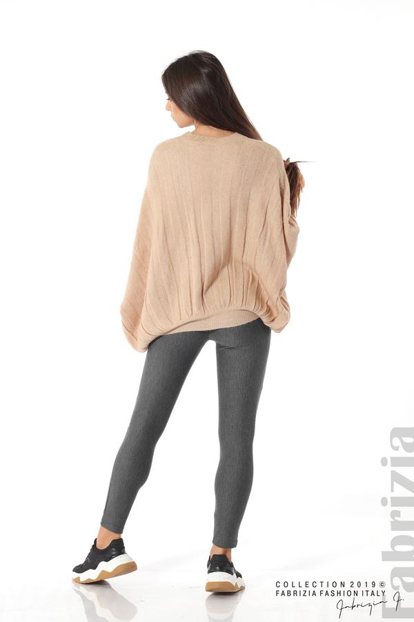 Широка блуза с прилеп ръкав бежов 3 fabrizia