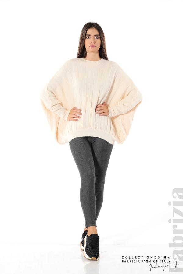 Широка блуза с  прилеп ръкав пудра 2 fabrizia