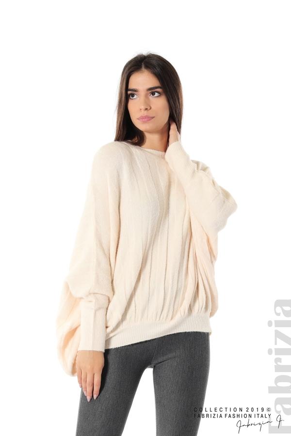 Широка блуза с прилеп ръкав пудра 1 fabrizia