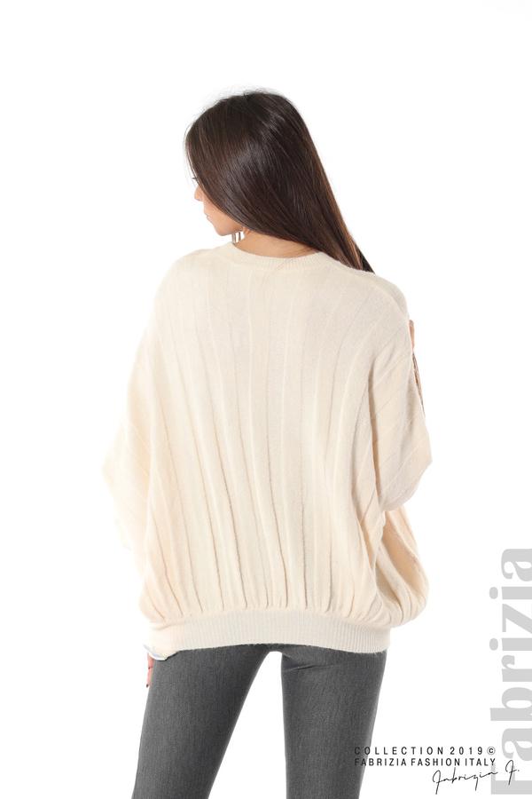 Широка блуза с  прилеп ръкав пудра 6 fabrizia