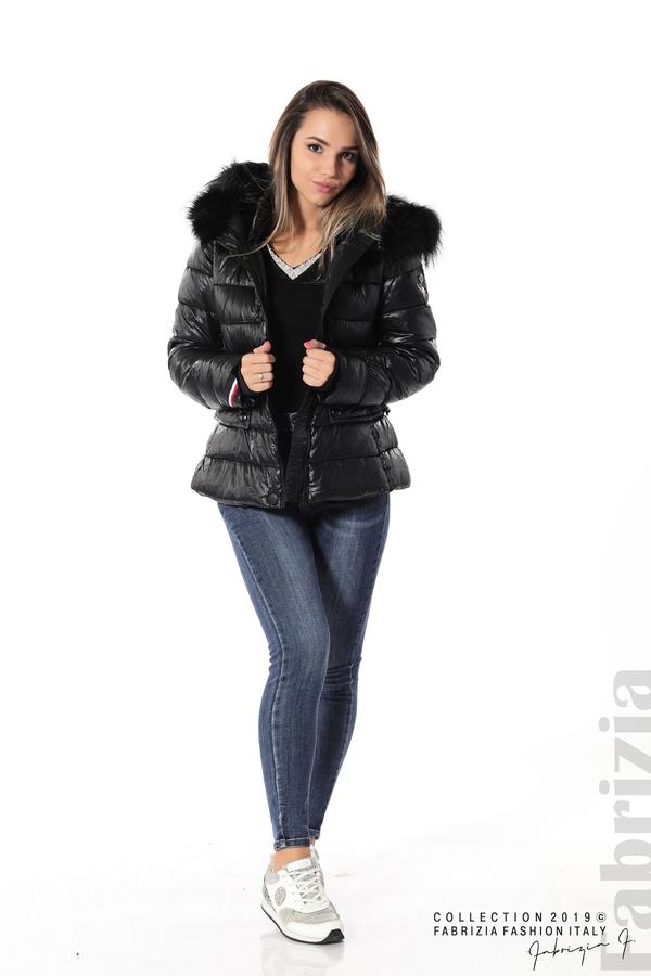 Късо зимно яке с качулка естествен косъм черен 2 fabrizia