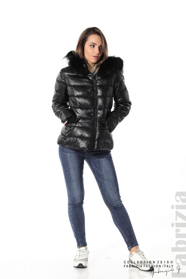 Късо зимно яке с качулка естествен косъм черен 3 fabrizia