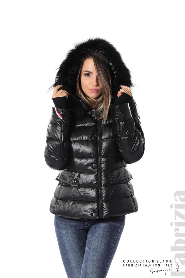Късо зимно яке с качулка естествен косъм черен 1 fabrizia