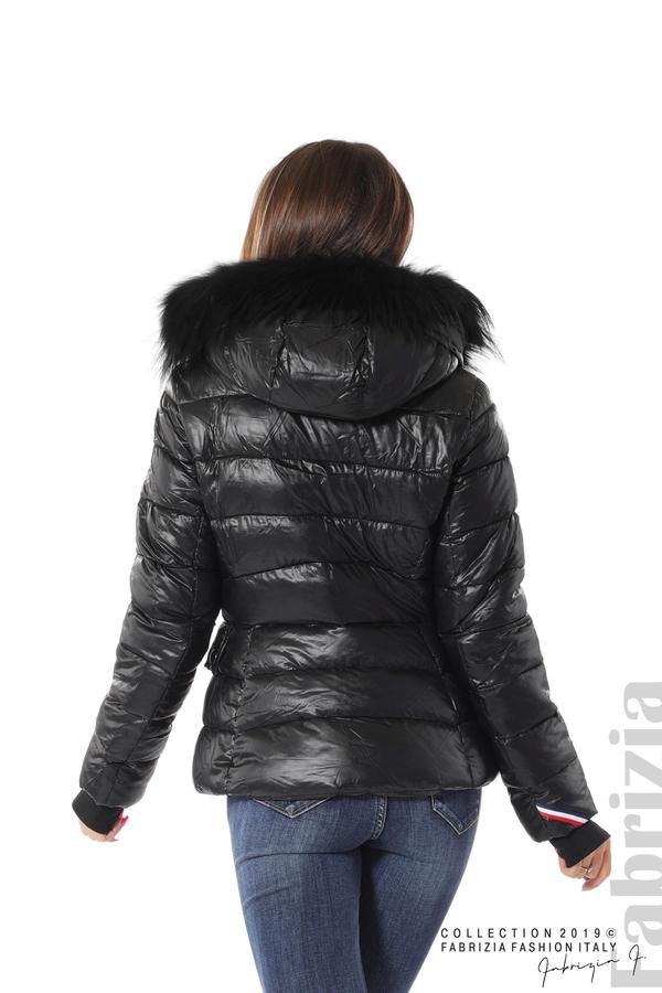 Късо зимно яке с качулка естествен косъм черен 5 fabrizia