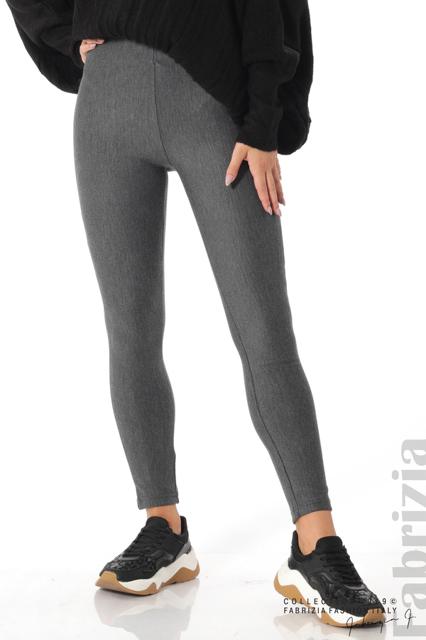 Дамски панталон висока талия сив 3 fabrizia
