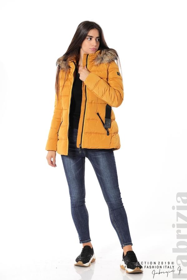 Дамско яке с естествен косъм-охра-3-Fabrizia