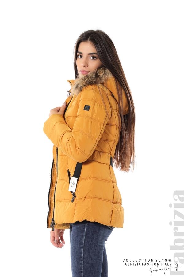 Дамско яке с естествен косъм-охра-4-Fabrizia