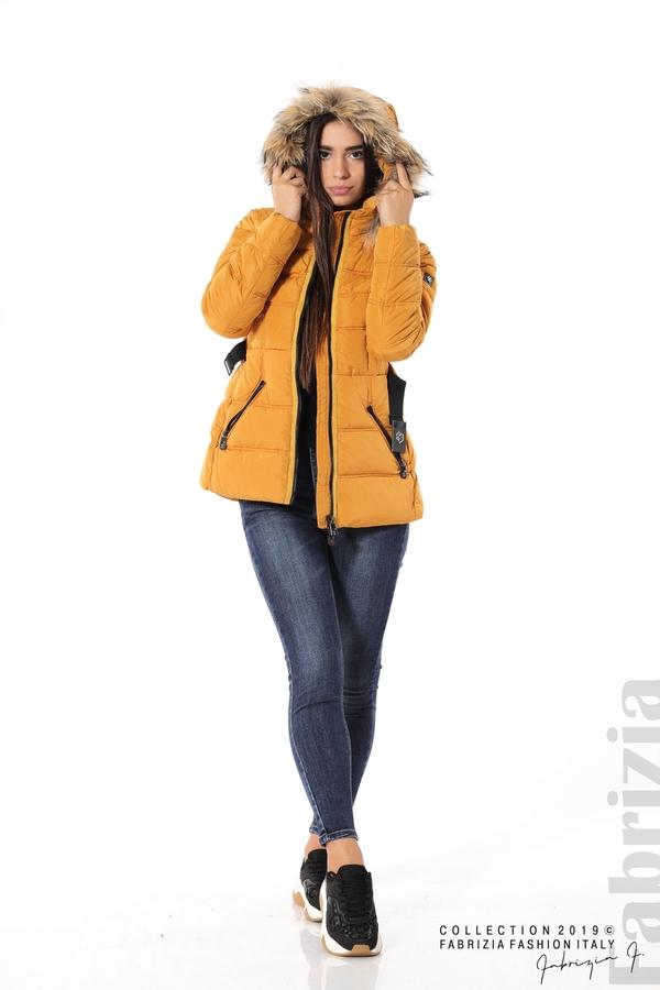 Дамско яке с естествен косъм-охра-5-Fabrizia