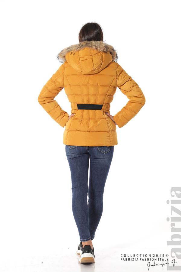Дамско яке с естествен косъм-охра-6-Fabrizia