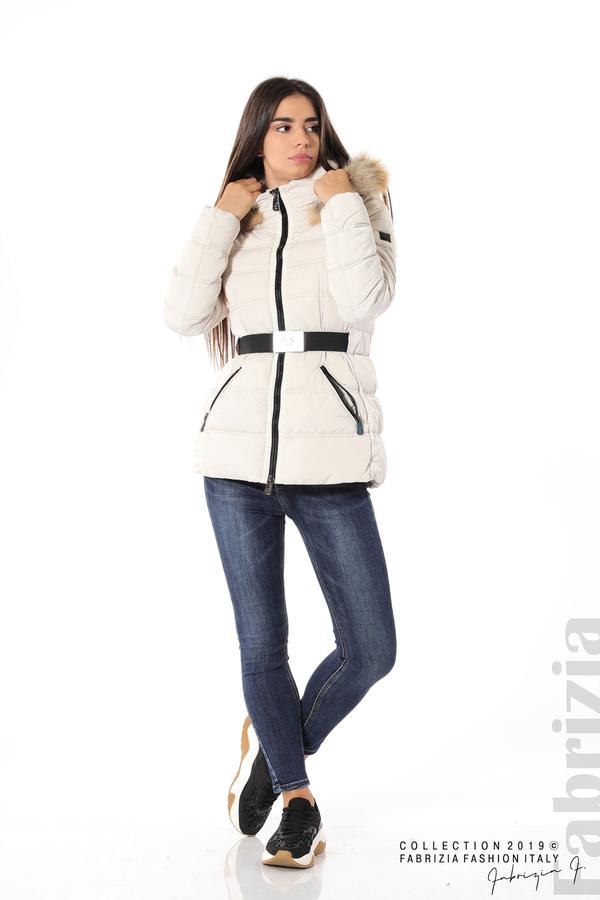 Дамско яке с естествен косъм-екрю-2-Fabrizia