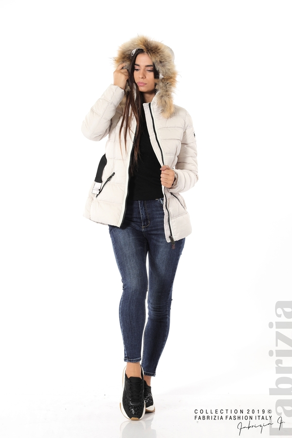 Дамско яке с естествен косъм-екрю-4-Fabrizia