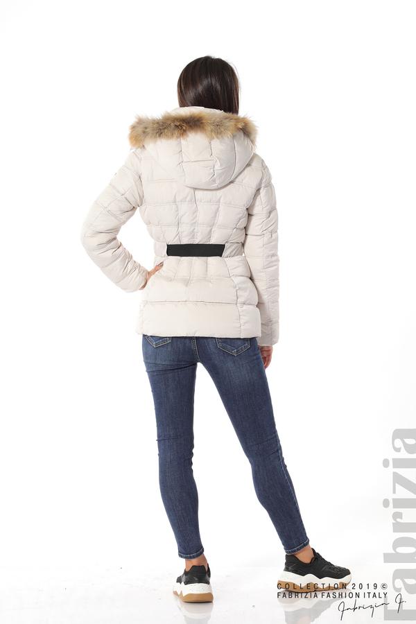 Дамско яке с естествен косъм-екрю-5-Fabrizia