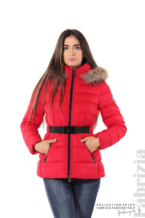 Дамско яке с естествен косъм-червен-1-Fabrizia