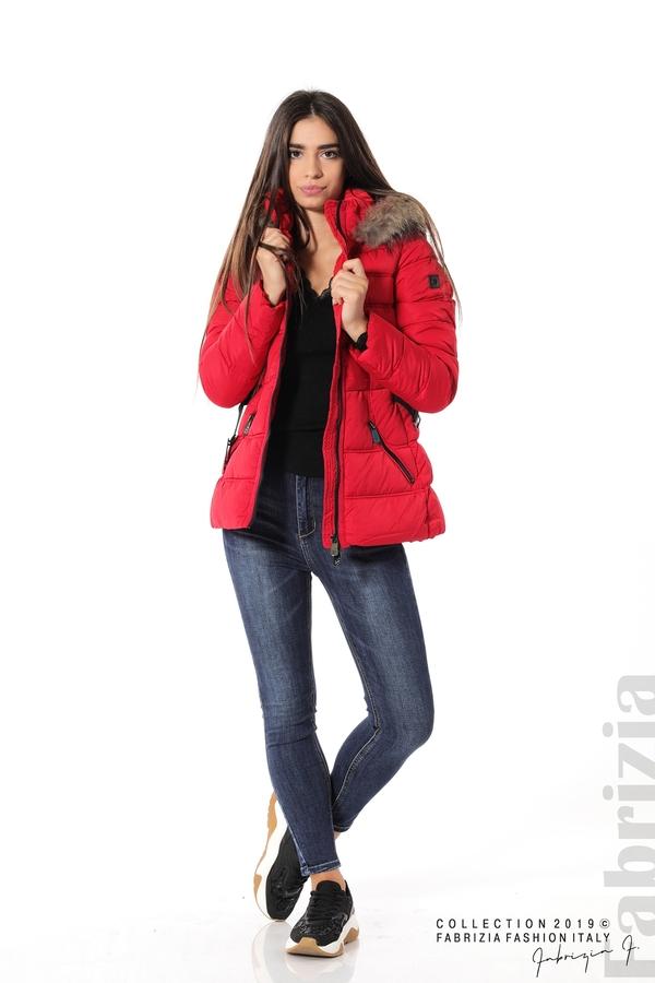 Дамско яке с естествен косъм-червен-1-FabriziaДамско яке с естествен косъм-червен-2-Fabrizia