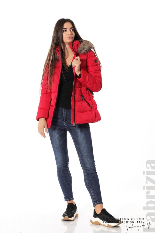 Дамско яке с естествен косъм-червен-4-Fabrizia