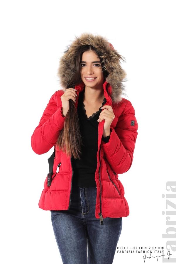Дамско яке с естествен косъм-червен-3-Fabrizia