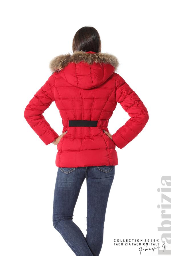 Дамско яке с естествен косъм-червен-6-Fabrizia