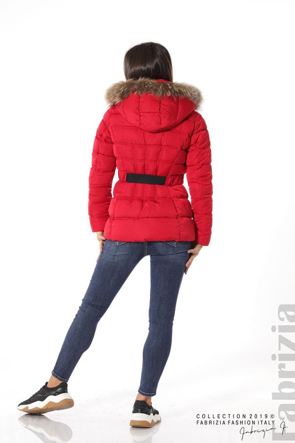 Дамско яке с естествен косъм-червен-5-Fabrizia