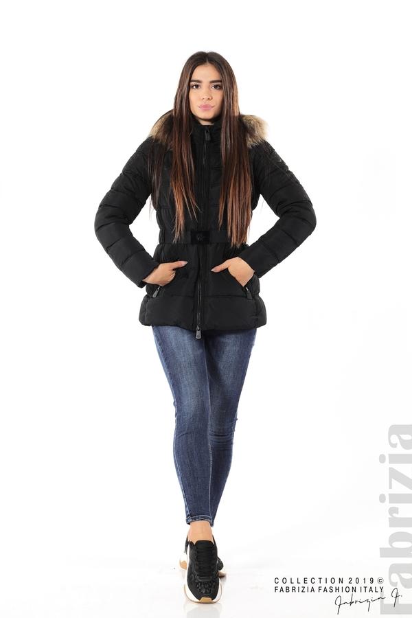 Дамско яке с естествен косъм-черен-2-Fabrizia