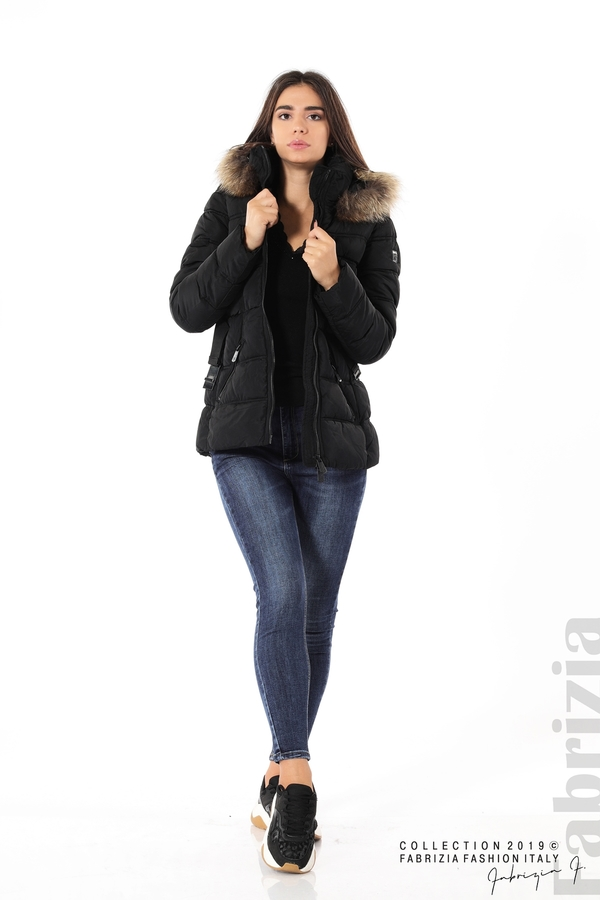 Дамско яке с естествен косъм-черен-3-Fabrizia