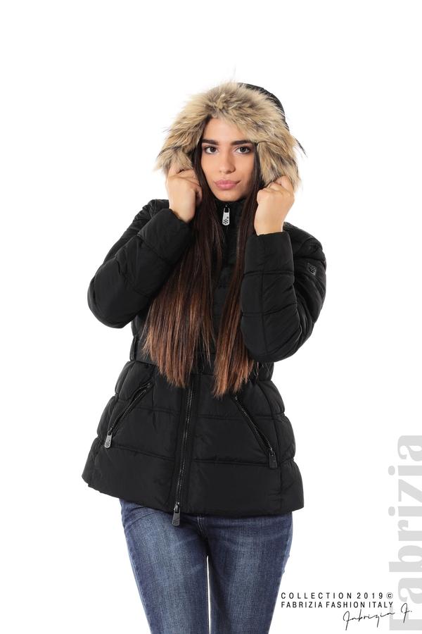 Дамско яке с естествен косъм-черен-1-Fabrizia