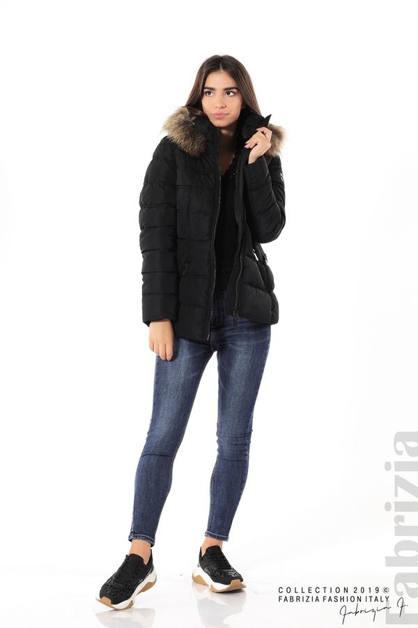 Дамско яке с естествен косъм-черен-4-Fabrizia