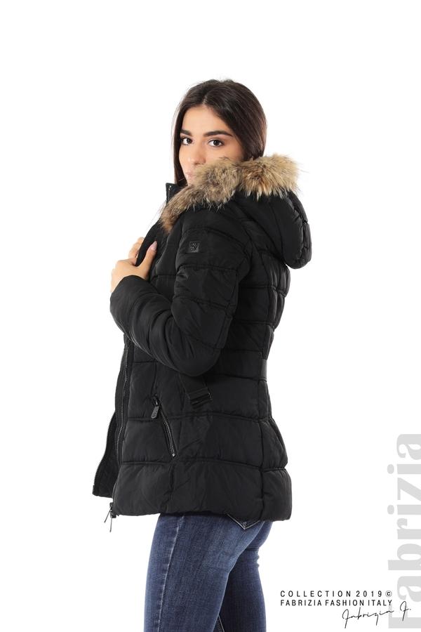 Дамско яке с естествен косъм-черен-5-Fabrizia