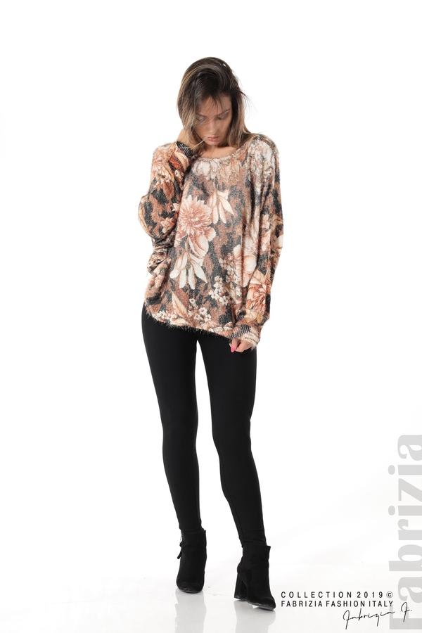 Дамска блуза на цветя кафяв 1 fabrizia